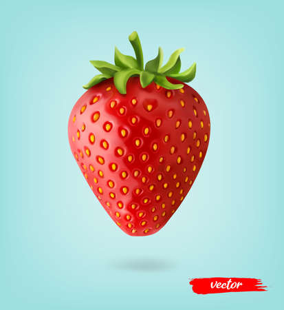 Red berry strawberry isolated on blue transparent background. 3d realistic vector illustration of strawberry.