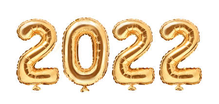 Gold foil balloons numeral 2022. Happy new year 2022 holiday. 2022 golden decoration holiday on white background.