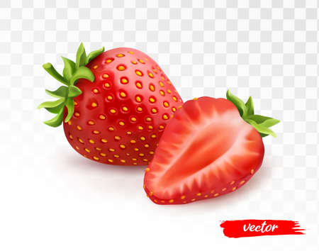 Whole strawberries and half of strawberry on transparent white background. 3d realistic vector illustration of strawberry.