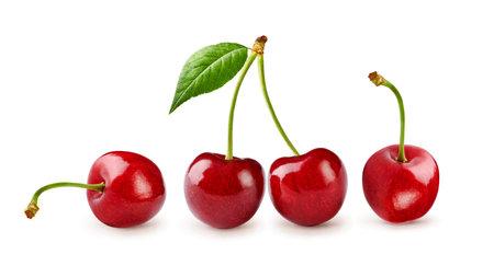 Fresh cherry fruit isolated on white background. Cherry isolated.