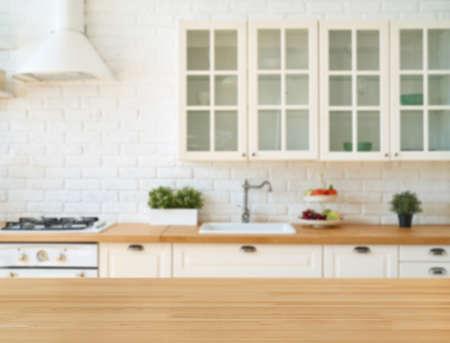Kitchen interior with kitchen utensils and kitchen stove. Kitchen background. Scandi style. Foto de archivo