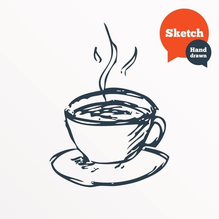 filiżanka kawy: Ręcznie rysowane filiżankę kawy. Zarysowane gorąca herbata napój. Symbol filiżanka. Wektor