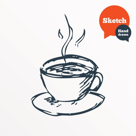 Hand drawn coffee cup. Sketched hot tea drink. Teacup symbol. Vector Illustration