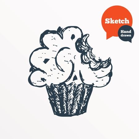 bite: Hand drawn muffin. Sketched bite of cupcake. Sweet cake symbol. Vector Illustration