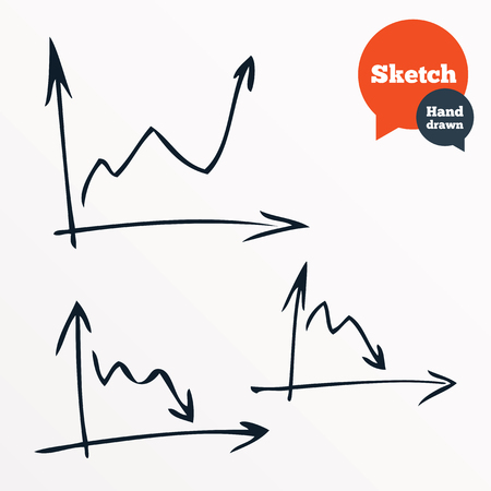 on demand: Hand drawn diagram. Sketched chart of sales. Demand and supply curves. Vector