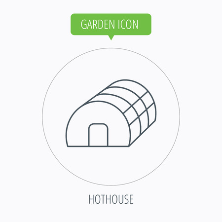 hothouse: Greenhouse complex. Hothouse building. Thin line icon in circle. Place in which plants are grown. Vector