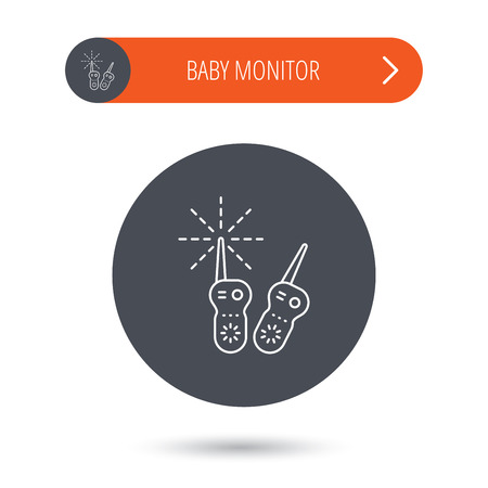 nanny: Baby monitor icon. Nanny for newborn sign. Radio set symbol. Gray flat circle button. Orange button with arrow. Vector