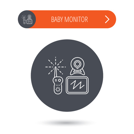 nanny: Baby monitor icon. Video nanny for newborn sign. Radio set with camera and tv symbol. Gray flat circle button. Orange button with arrow. Vector