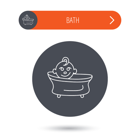 washing symbol: Baby in bath icon. Toddler bathing sign. Newborn washing symbol. Gray flat circle button. Orange button with arrow. Vector