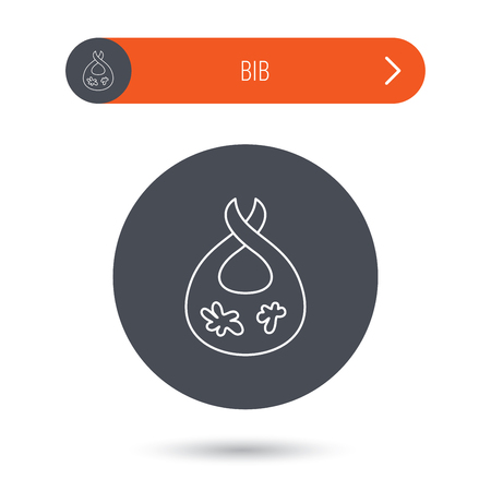 dirty clothes: Bib with dirty spots icon. Baby clothes sign. Feeding wear symbol. Gray flat circle button. Orange button with arrow. Vector