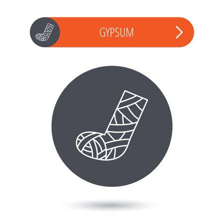 cast: Gypsum or cast foot icon. Broken leg sign. Human recovery medicine symbol. Gray flat circle button. Orange button with arrow. Vector
