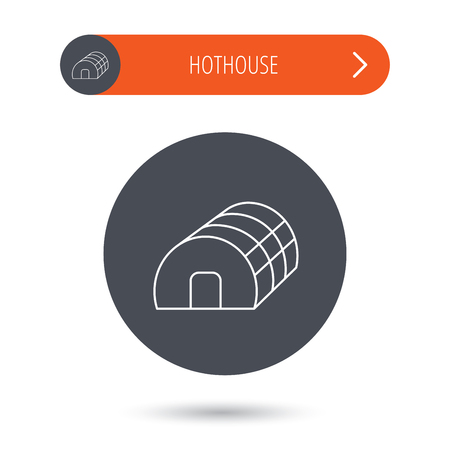 warm house: Greenhouse complex icon. Hothouse building sign. Warm house symbol. Gray flat circle button. Orange button with arrow. Vector Illustration