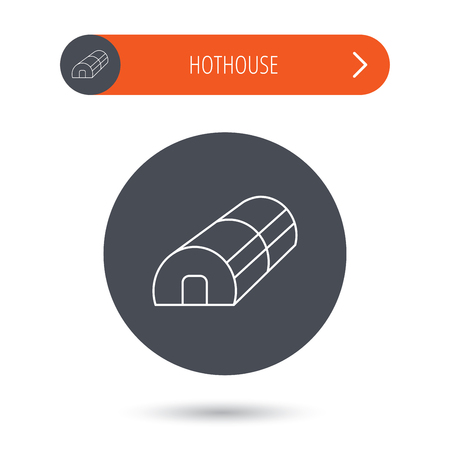 hothouse: Greenhouse complex icon. Hothouse building sign. Warm house symbol. Gray flat circle button. Orange button with arrow. Vector Illustration