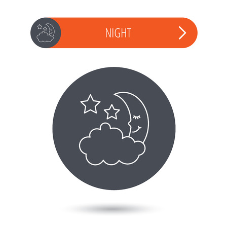 moonbeam: Night or sleep icon. Moon and stars sign. Crescent astronomy symbol. Gray flat circle button. Orange button with arrow. Vector Illustration