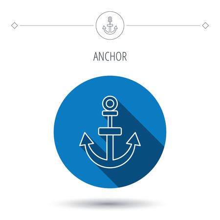 navy pier: Anchor icon. Nautical drogue sign. Sea and sailing symbol. Blue flat circle button. Linear icon with shadow. Vector Illustration