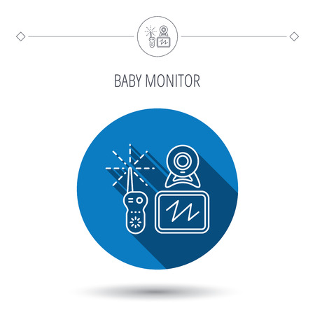 nanny: Baby monitor icon. Video nanny for newborn sign. Radio set with camera and tv symbol. Blue flat circle button. Linear icon with shadow. Vector Illustration