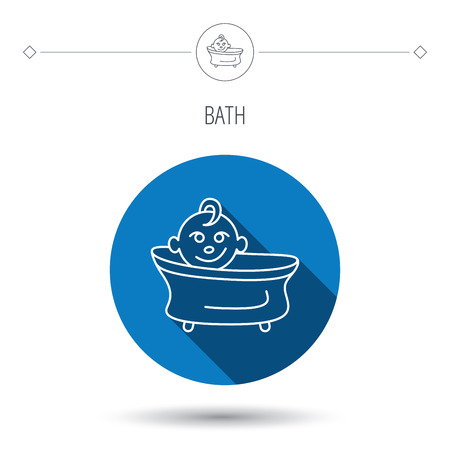 washing symbol: Baby in bath icon. Toddler bathing sign. Newborn washing symbol. Blue flat circle button. Linear icon with shadow. Vector