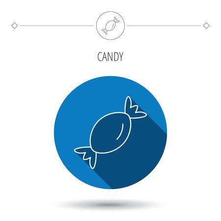 甘い食べ物: お菓子のアイコン。砂糖ロリポップ記号。甘い食べ物のシンボル。ブルー フラット丸ボタン。シャドウと線形アイコン。ベクトル