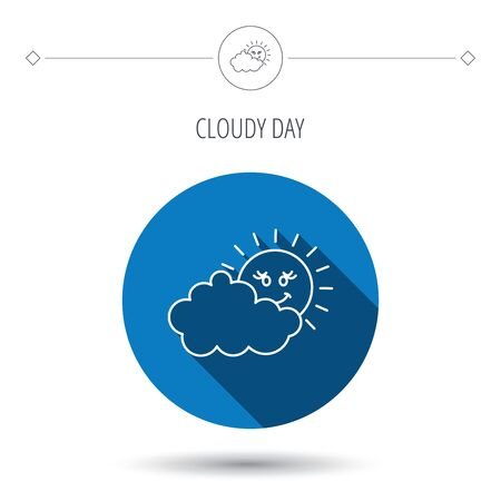 overcast: Cloudy day with sun icon. Overcast weather sign. Meteorology symbol. Blue flat circle button. Linear icon with shadow. Vector