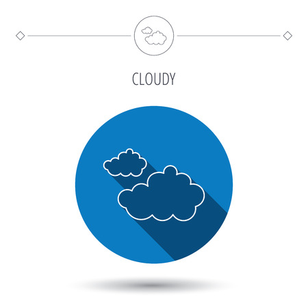 nebulosidade: Cloudy icon. Overcast weather sign. Meteorology symbol. Blue flat circle button. Linear icon with shadow. Vector