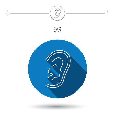 otorhinolaryngology: Icona Orecchio. Ascoltate o ascoltare segno. Sordi simbolo umano. Blu tasto cerchio piatta. Icona lineare con ombra. Vettore