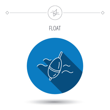 bobber: Fishing float icon. Bobber in waves sign. Angling symbol. Blue flat circle button. Linear icon with shadow. Vector
