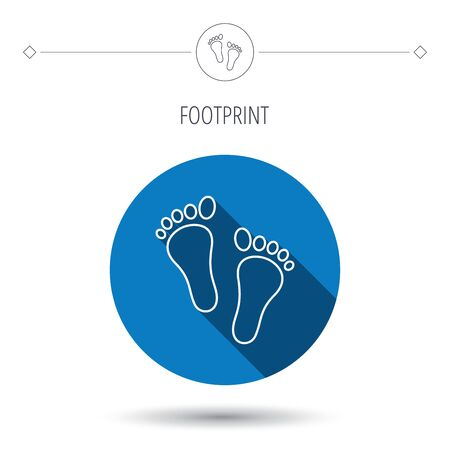 baby blue: Baby footprints icon. Child feet sign. Newborn steps symbol. Blue flat circle button. Linear icon with shadow. Vector