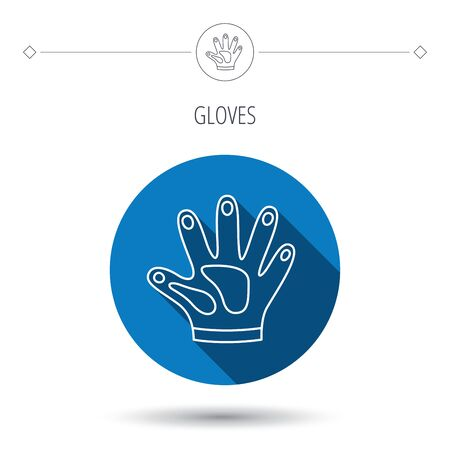 cleaning equipment: Construction gloves icon. Textile hand protection sign. Housework cleaning equipment symbol. Blue flat circle button. Linear icon with shadow. Vector
