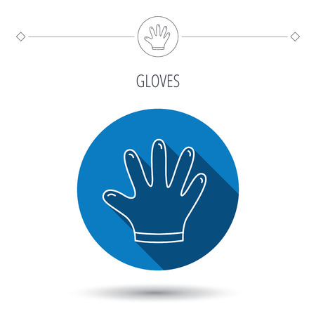 cleaning equipment: Rubber gloves icon. Latex hand protection sign. Housework cleaning equipment symbol. Blue flat circle button. Linear icon with shadow. Vector Illustration