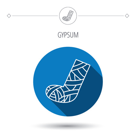 foot care: Gypsum or cast foot icon. Broken leg sign. Human recovery medicine symbol. Blue flat circle button. Linear icon with shadow. Vector