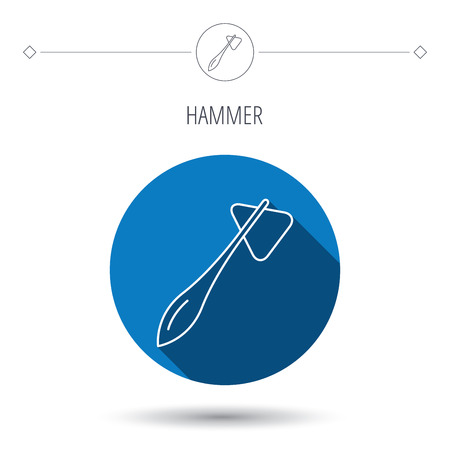 reflex: Reflex hammer icon. Doctor medical equipment sign. Nervous therapy tool symbol. Blue flat circle button. Linear icon with shadow. Vector