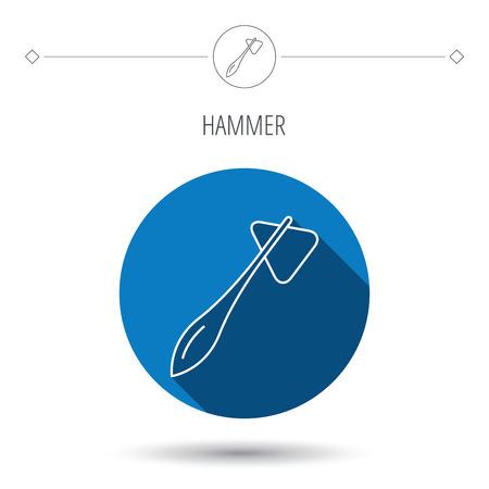 reflexe: Reflex ic�ne de marteau. Docteur signe de l'�quipement m�dical. Nervous symbole outil de th�rapie. Bleu bouton cercle plat. Ic�ne lin�aire avec l'ombre. Vecteur Illustration