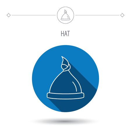 nodule: Baby hat icon. Newborn cap sign. Toddler sleeping clothes symbol. Blue flat circle button. Linear icon with shadow. Vector