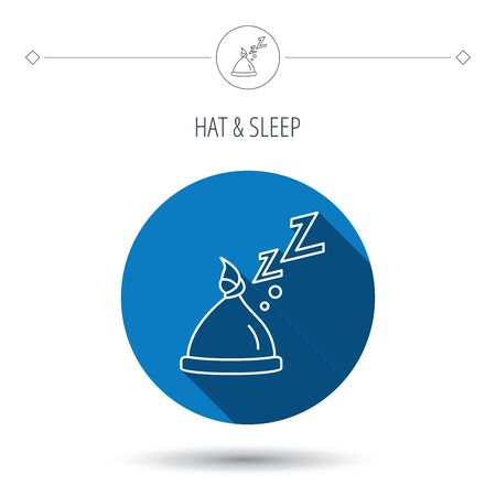 nodule: Baby hat with nodule icon. Newborn cap sign. Toddler sleeping clothes symbol. Blue flat circle button. Linear icon with shadow. Vector