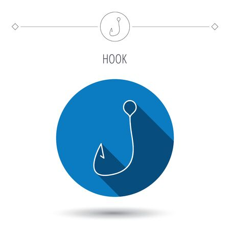 Fishing hook icon. Fisherman equipment sign. Angling symbol. Blue flat circle button. Linear icon with shadow. Vector