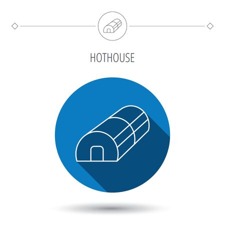 warm house: Greenhouse complex icon. Hothouse building sign. Warm house symbol. Blue flat circle button. Linear icon with shadow. Vector
