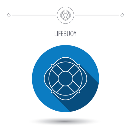 lifesaving: Lifebuoy with rope icon. Lifebelt sos sign. Lifesaver help equipment symbol. Blue flat circle button. Linear icon with shadow. Vector