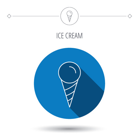 frozen food: Ice cream icon. Sweet dessert in waffle cone sign. Frozen food symbol. Blue flat circle button. Linear icon with shadow. Vector Illustration
