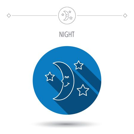 moonbeam: Night or sleep icon. Moon and stars sign. Crescent astronomy symbol. Blue flat circle button. Linear icon with shadow. Vector Illustration