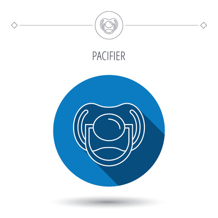 nipple: Pacifier icon. Nipple or dummy sign. Newborn child relax equipment symbol. Blue flat circle button. Linear icon with shadow. Vector