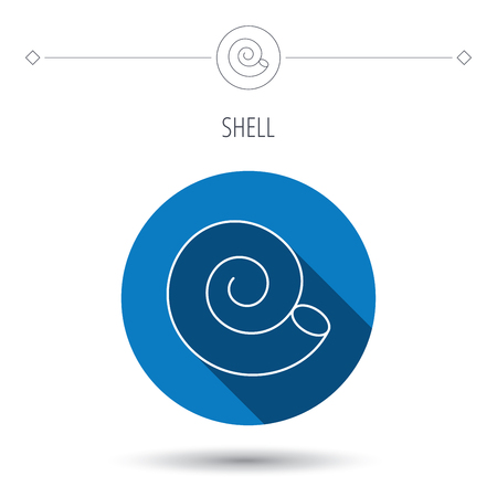 seashell: Sea shell icon. Spiral seashell sign. Mollusk shell symbol. Blue flat circle button. Linear icon with shadow. Vector