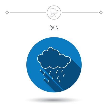 overcast: Rain icon. Water drops and cloud sign. Rainy overcast day symbol. Blue flat circle button. Linear icon with shadow. Vector
