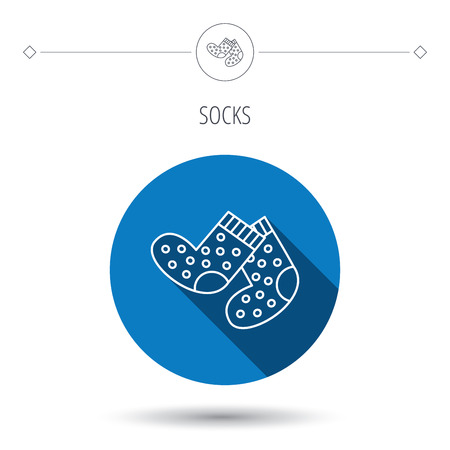 long socks: Socks icon. Baby underwear sign. Clothes symbol. Blue flat circle button. Linear icon with shadow. Vector