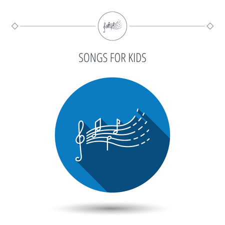 music icons: Songs for kids icon. Musical notes, melody sign. G-clef symbol. Blue flat circle button. Linear icon with shadow. Vector Illustration