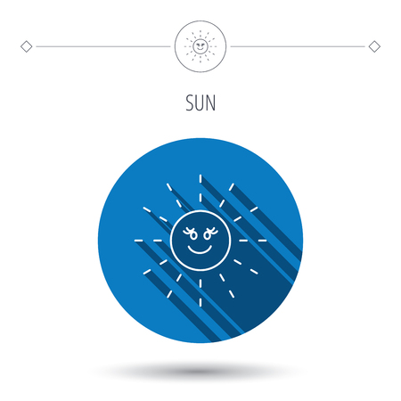 hot weather: Sun rays icon. Summer sign. Hot weather symbol. Blue flat circle button. Linear icon with shadow. Vector