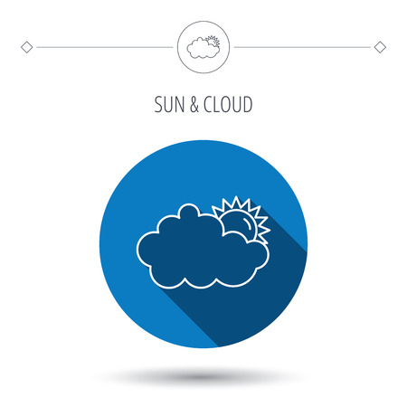 overcast: Sunny day icon. Summer sign. Overcast weather symbol. Blue flat circle button. Linear icon with shadow. Vector