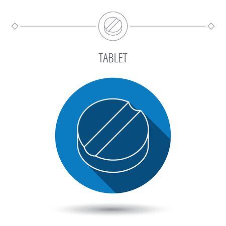 gu�rir: ic�ne de la tablette. M�decine signe de la drogue. Symbole de gu�rison pharmaceutique. Bleu bouton cercle plat. Ic�ne lin�aire avec l'ombre. Vecteur