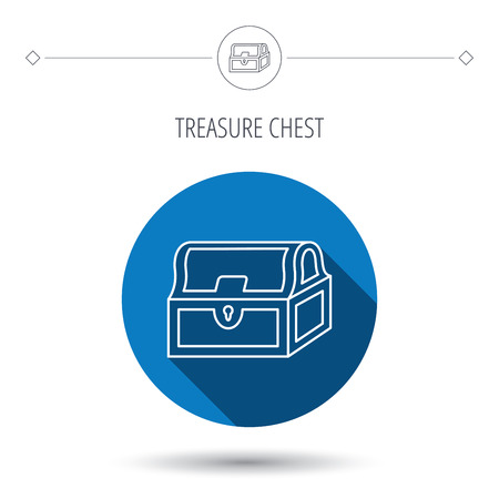 treasury: Treasure chest icon. Piratic treasury sign. Wealth symbol. Blue flat circle button. Linear icon with shadow. Vector
