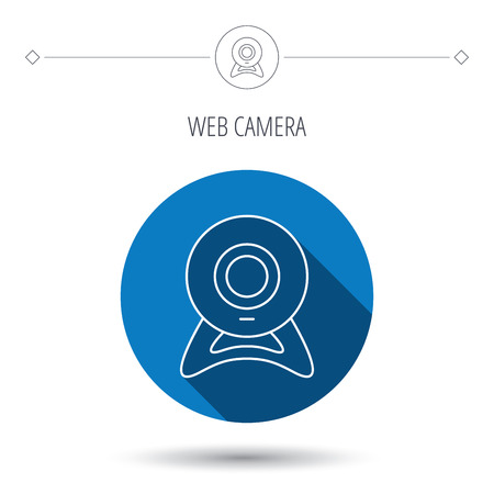 web cam: Web cam icon. Video camera sign. Online communication symbol. Blue flat circle button. Linear icon with shadow. Vector Illustration