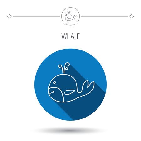 baleen whale: Icono de la ballena. Mayor signo animales mam�feros. Ballena con el s�mbolo de fuente. Bot�n c�rculo plano azul. Icono lineal con la sombra. Vector Vectores